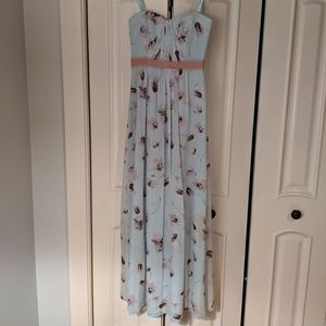 BCBGMaxAzria silk strapless floor length dress